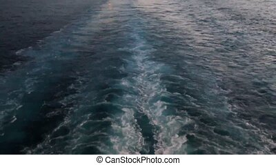 The ship's wake - Wake of a large ship with twin propellers...
