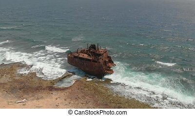 The Shipwreck at Klein Curacao - The old rusty ship at Klein...