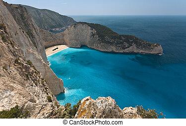 The Shipwreck beach at Zakynthos island in Greece