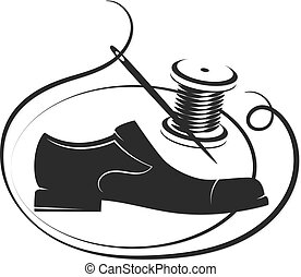 The shoe, the needle and the thread coil are silhouetted