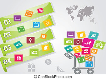 the shopping cart and items for sales