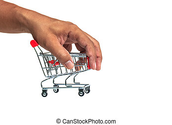 The shopping cart in hands on white background.