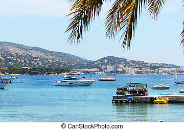 The shore and yachts on Mallorca island, Spain