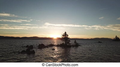 The shot of the sunset over Lake Tahoe.Nevada.USA. - The...