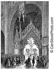 The Shrine of Sainte-Geneviève in Saint-Etienne-du-Mont, vintage engraving.