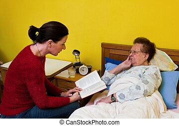 The sick old woman is visited