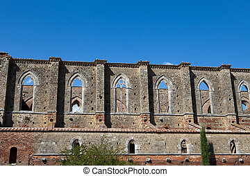 The side wall of the Abbey of San Galgano. Tuscany