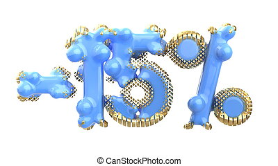 The sign -15off. Made of blue plastic with gold elements or isolate on white background. 3d illustration