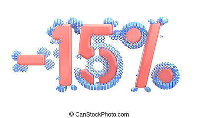 The sign -15off. Made of trendy pink shiny material with blue plastic parts isolate on white background. 3d illustration.