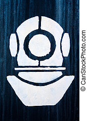 The sign, a symbol of industrial diver