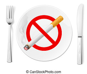 No Smoking - The sign No Smoking on a plate with fork and...