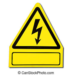 The Sign of danger of electricity from high voltage isolated on white background
