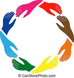 the sign of peace and friendship - Hands in circle in ...