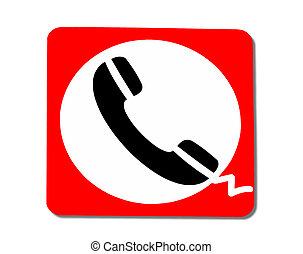 The Sign of phone isolated on white background