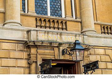 The sign of the Roman Baths in Bath, England
