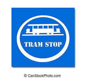 The Sign of tram stop isolated on white background
