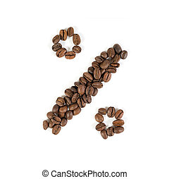 """The sign """"percent"""" from roasted coffee beans. White background."""