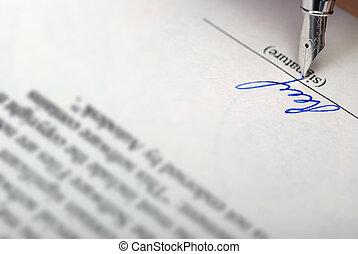 signature - The signature. Acknowledgement of the document...