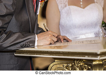 The signing of the marriage contract