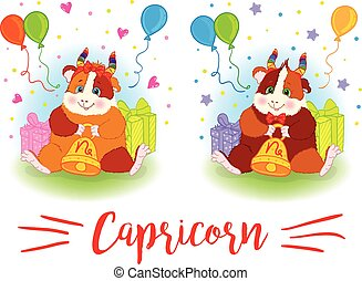 The signs of the zodiac. Guinea pig. Capricorn.