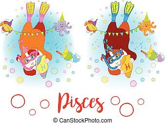 The signs of the zodiac. Guinea pig. Pisces.