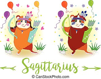 The signs of the zodiac. Guinea pig. Sagittarius. - The...