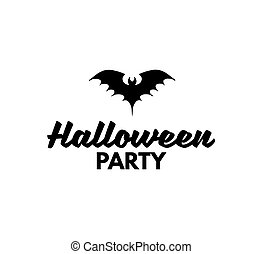 The Silhouette Of A Bat. Sign Halloween Party Badge. Vector Illustration.