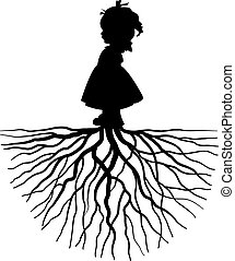 girl with root - The silhouette of a girl with root