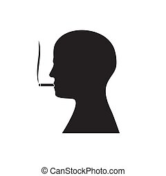 The silhouette of a man's head with a Smoking cigarette in his mouth on an isolated white background. Vector image.
