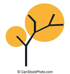 The silhouette of a tree with a trunk and branches with abstract leaves. Color vector icon.