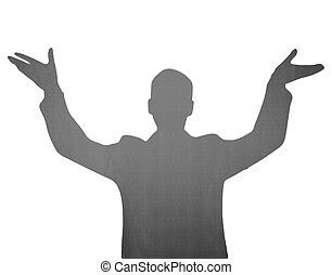The silhouette of a white and black male figure with his hands on top.
