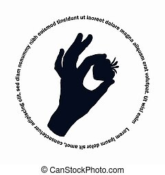 The silhouette of a woman hand. A set of four drawings on an isolated background with elements between your fingers.