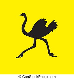 The silhouette of an ostrich bird flees on a yellow isolated background. Vector image
