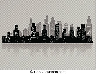 The silhouette of city with black color Isolated on a transparent background. in a flat style. Modern urban landscape. vector illustration.