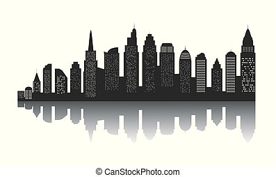 The silhouette of city with black color on white background in a flat style. Modern urban landscape. vector illustration.