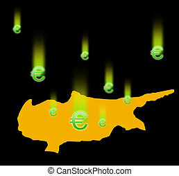 Cyprus and falling signs the Euromoney. - The silhouette of...