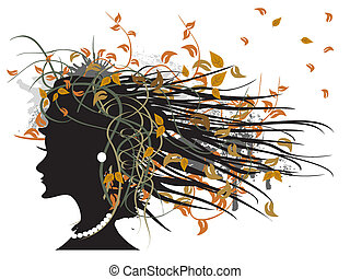the silhouette of floral autumn gir