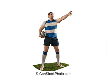 The silhouette of one caucasian rugby man player isolated on white background