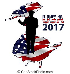 The silhouette of the President on the USA map