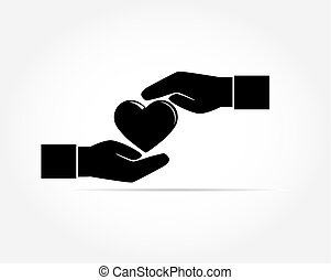 The silhouette of the red heart gently covers the palms of two outstretched hands