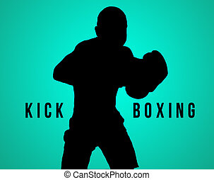The silhouette of young man kickboxing on black