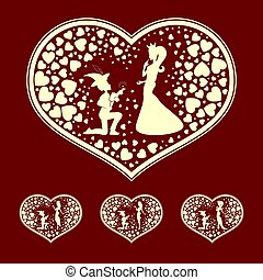 the silhouettes of the heart with the Prince and Princess, retro, set