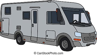 The silver motor home
