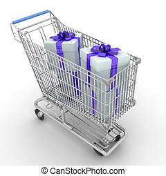 The silvery store cart full of gif
