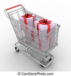 store cart full of gifts