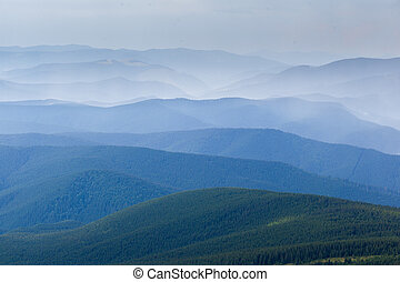The simple layers of the Smokies at sunset mountain