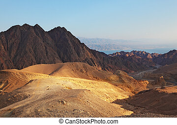 The Sinai desert. Sunrise over Red sea