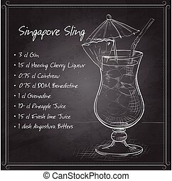 The Singapore Sling cocktail isolated on black board