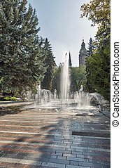 The Singing Fountain in Kosice Old Town, Slovakia.