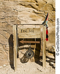 The Siq - canyon in Petra - The Siq sign - name of the...